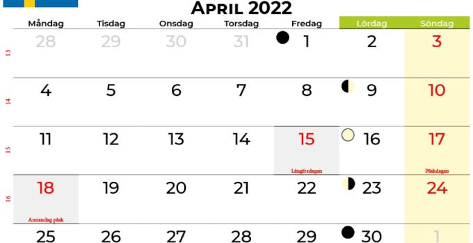 kalender april 2022 Sverige