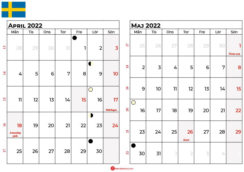 kalender april maj 2022