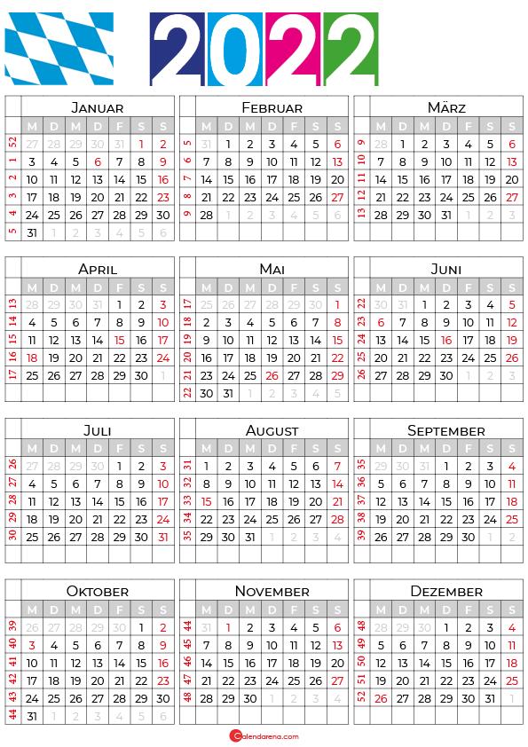 kalender bayern 2022