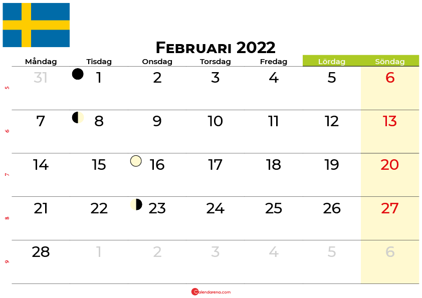 kalender februari 2022 Sverige