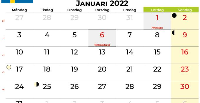 kalender januari 2022 Sverige
