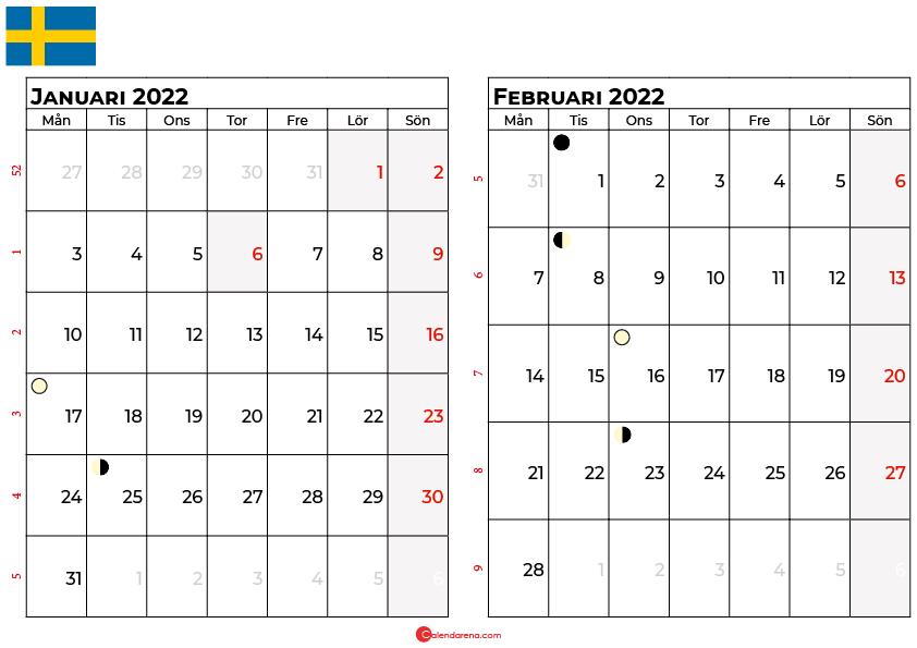 kalender januari Februari 2022