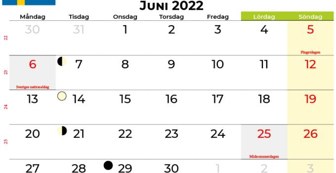 kalender juni 2022 Sverige