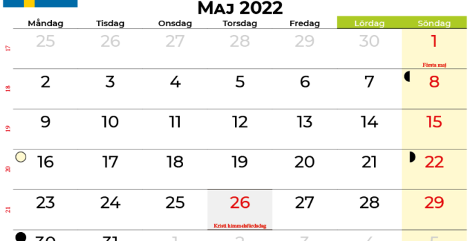 kalender maj 2022 Sverige