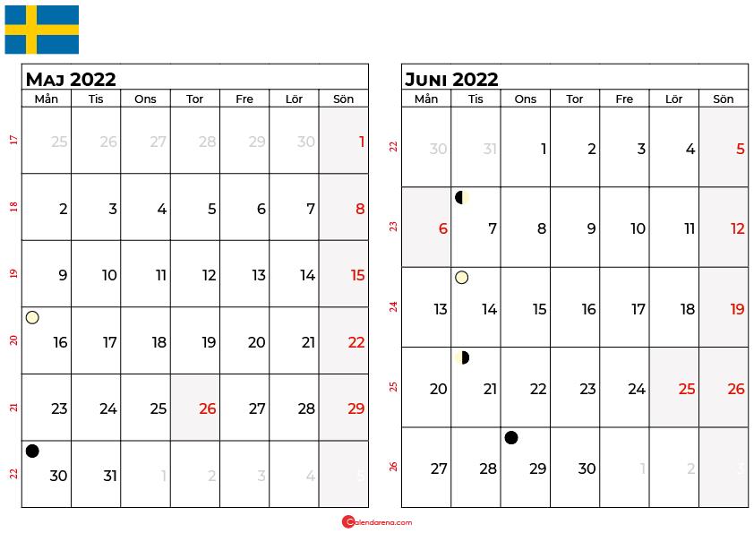 kalender maj juni 2022