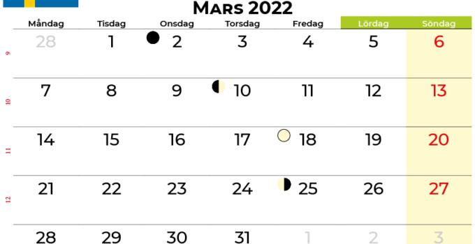 kalender mars 2022 Sverige