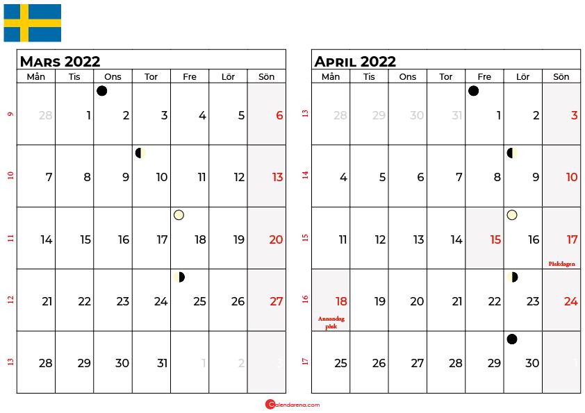 kalender mars april 2022