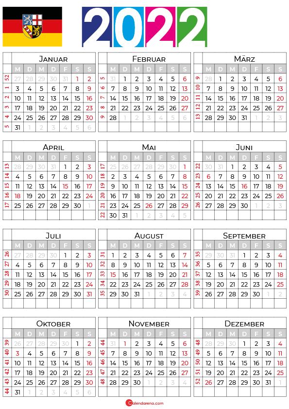 kalender saarland 2022