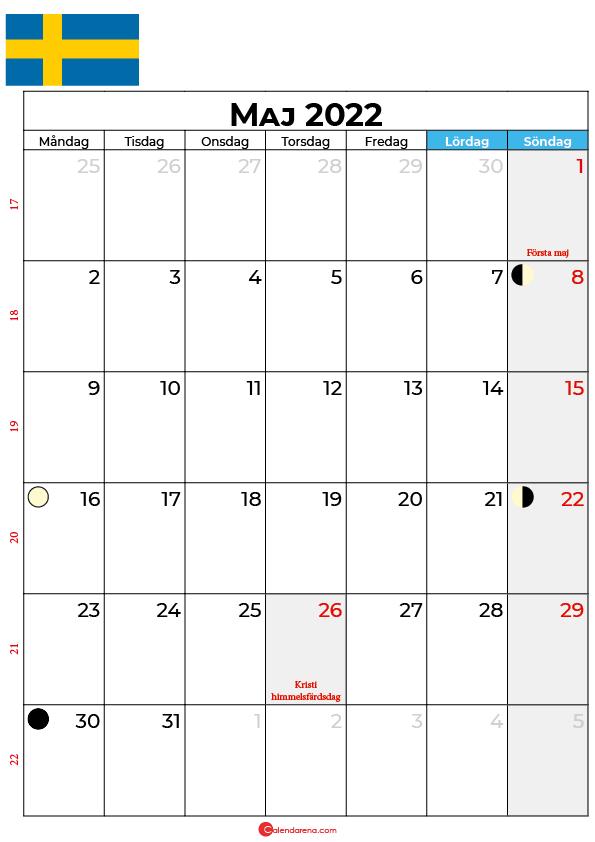 maj kalender 2022 Sverige