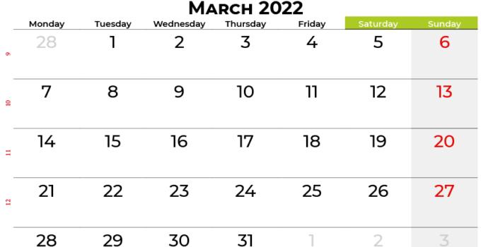 march 2022 calendar canada