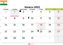 march 2022 calendar india