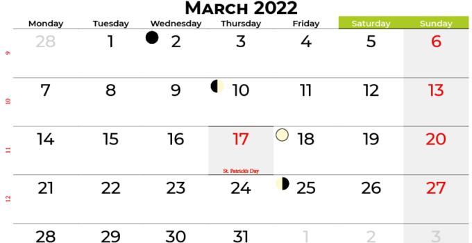 march 2022 calendar ireland