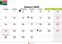 march 2022 calendar south africa