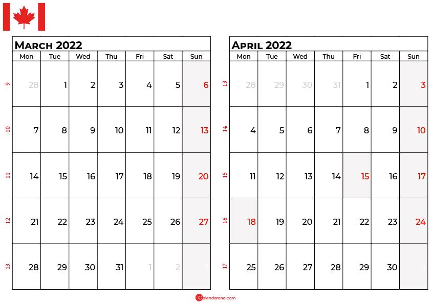 march and april 2022 calendar canada