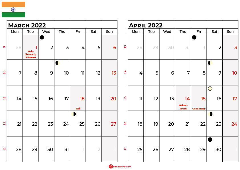 march and april 2022 calendar india