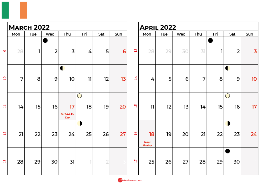 march and april 2022 calendar ireland
