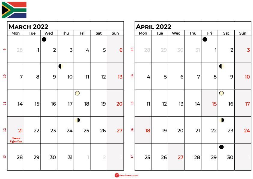 march and april 2022 calendar south africa