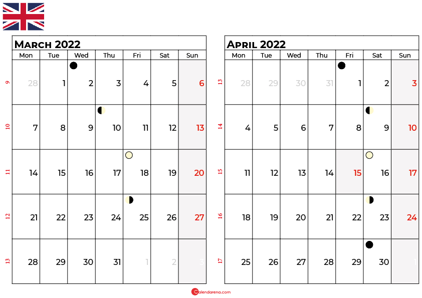 march and april 2022 calendar uk