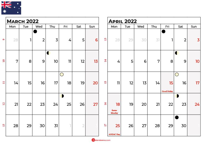 march april calendar 2022