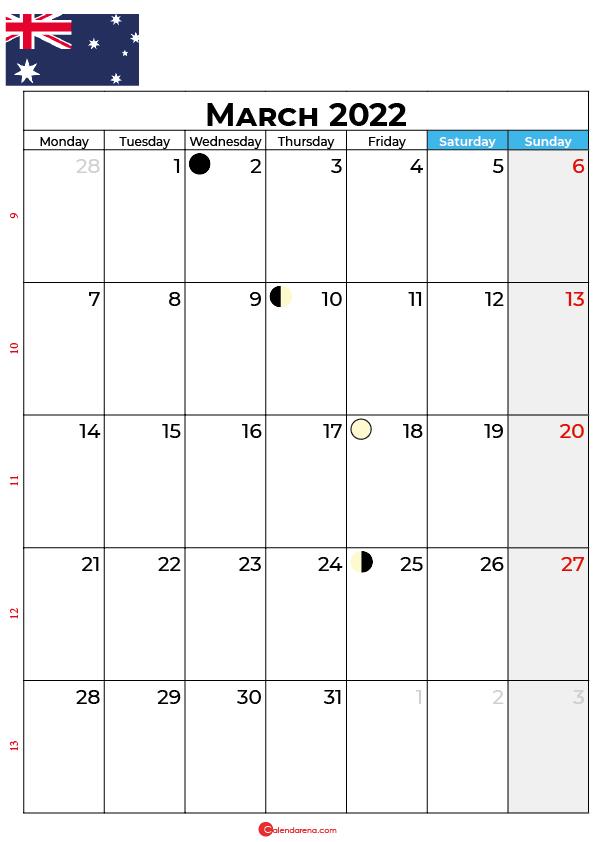 march calendar 2022 australia
