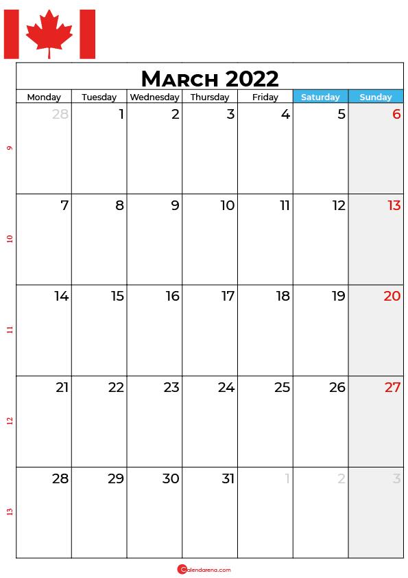 march calendar 2022 canada