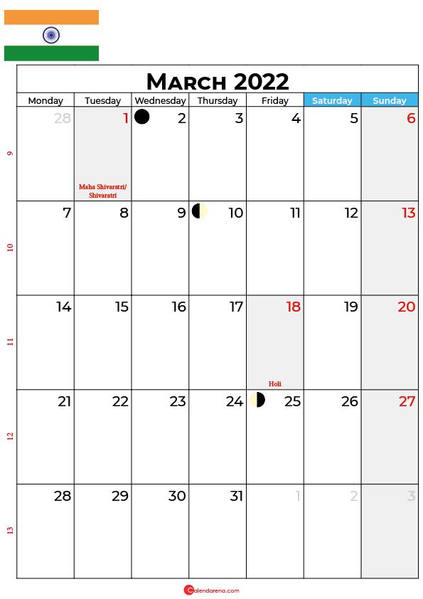 march calendar 2022 india