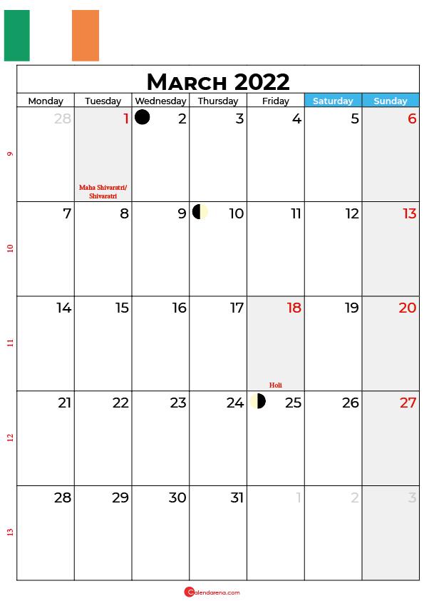 march calendar 2022 ireland