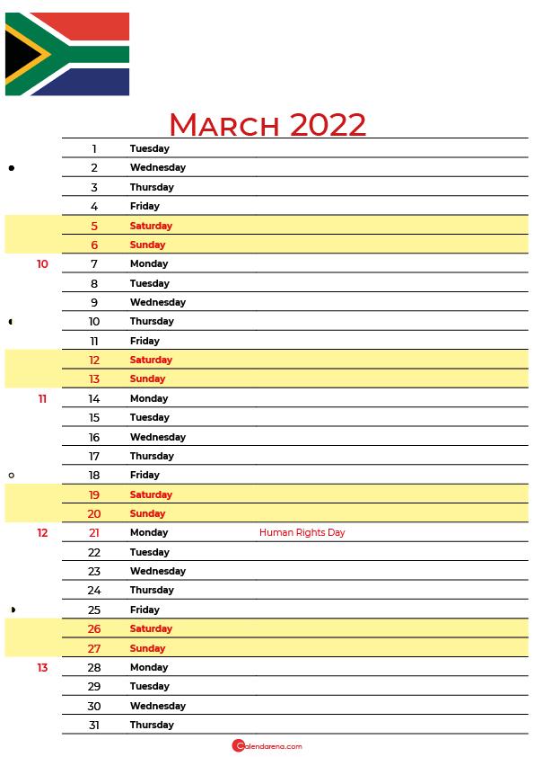 march calendar 2022 south africa