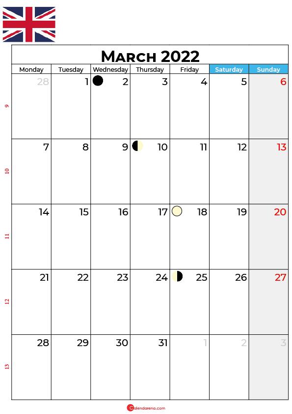 march calendar 2022 united kingdom