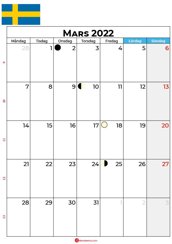 mars kalender 2022 Sverige