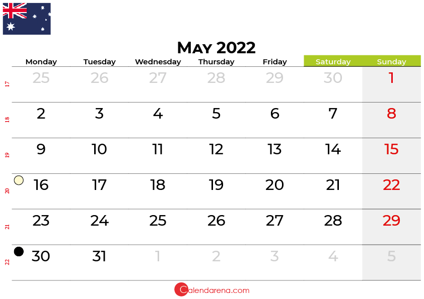 may 2022 calendar australia