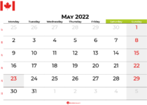 may 2022 calendar canada