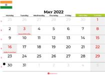 may 2022 calendar india