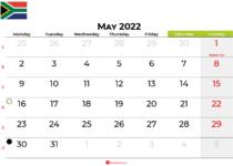 may 2022 calendar south africa