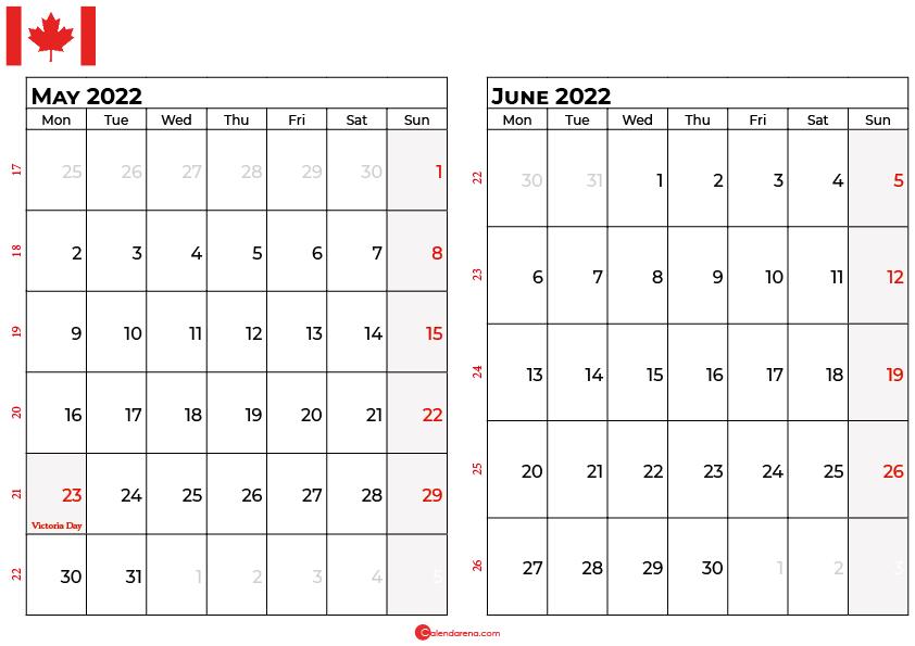 may and june 2022 calendar canada
