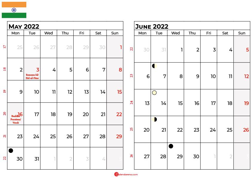 may and june 2022 calendar india