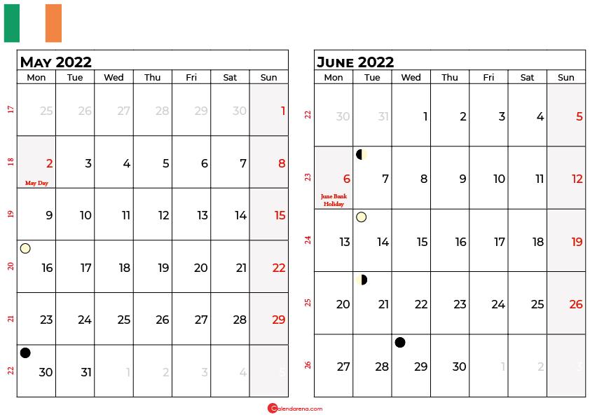 may and june 2022 calendar ireland