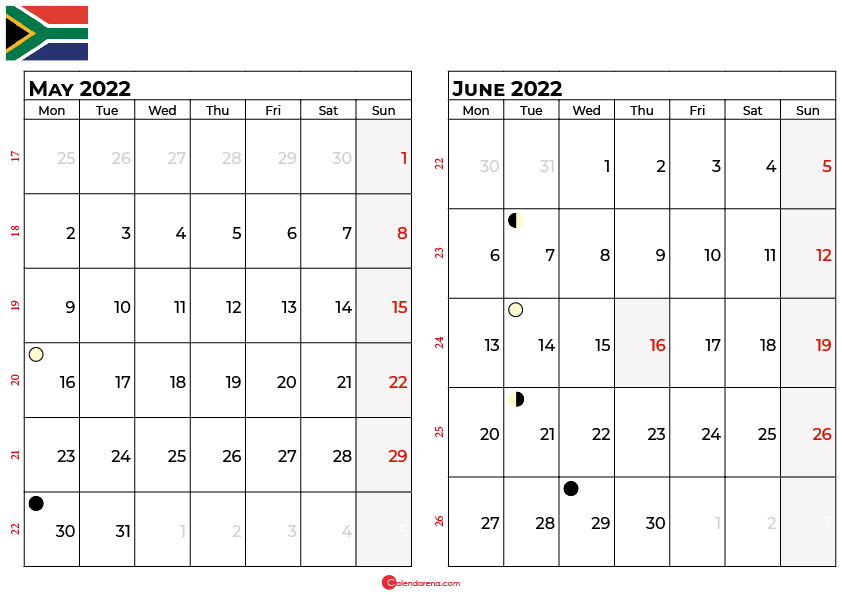 may and june 2022 calendar south africa