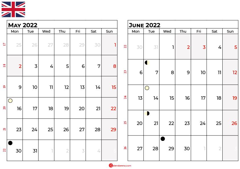 may and june 2022 calendar uk