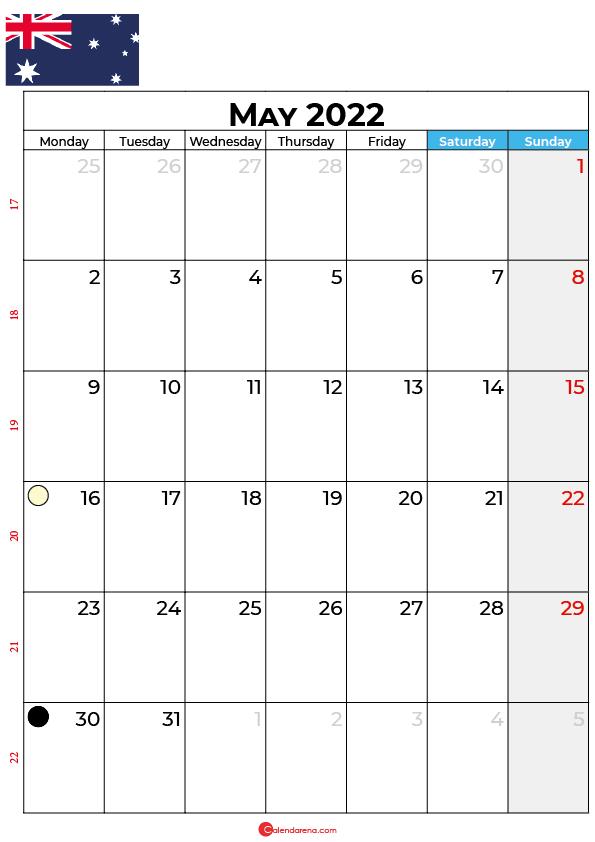 may calendar 2022 australia