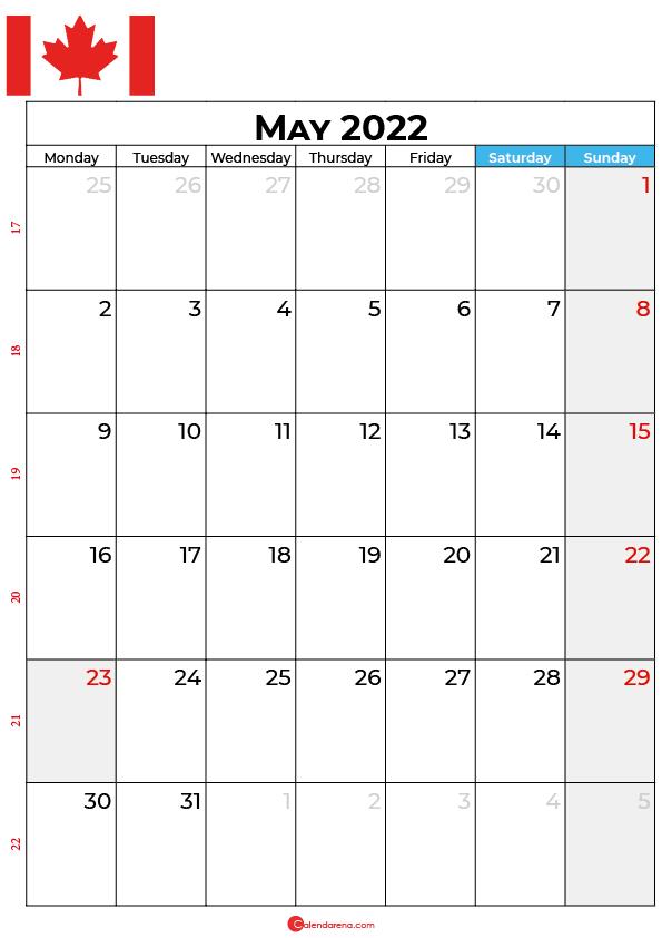 may calendar 2022 canada