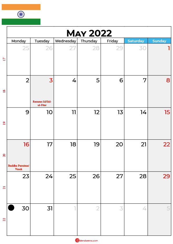 may calendar 2022 india