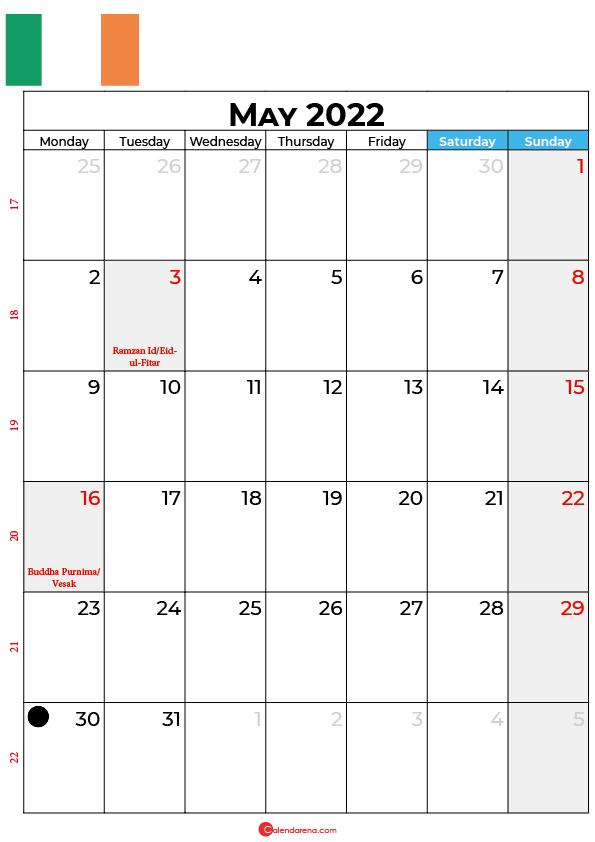 may calendar 2022 ireland