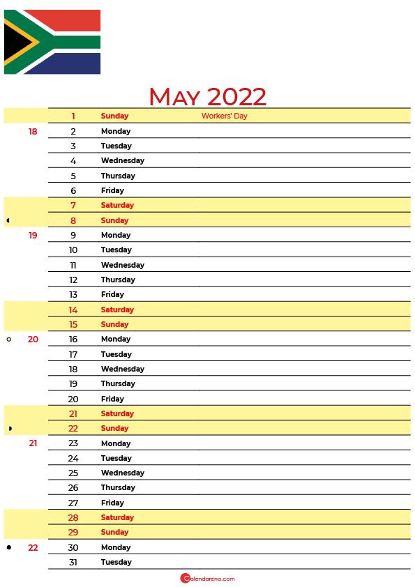 may calendar 2022 south africa