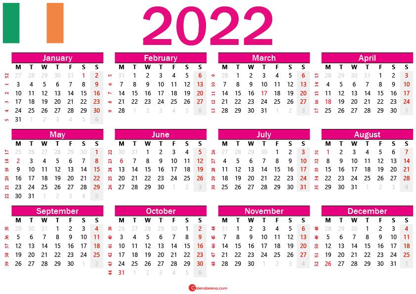 printable 2022 calendar ireland