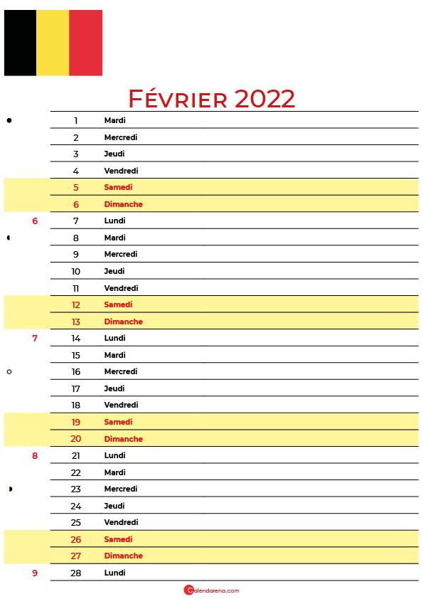 Février 2022 calendrier belgique