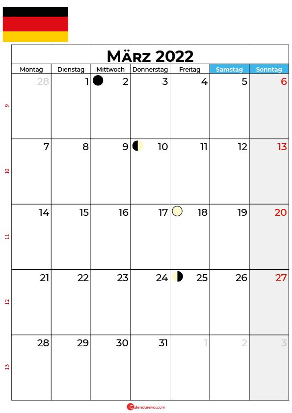 März 2022 kalender Deutschland