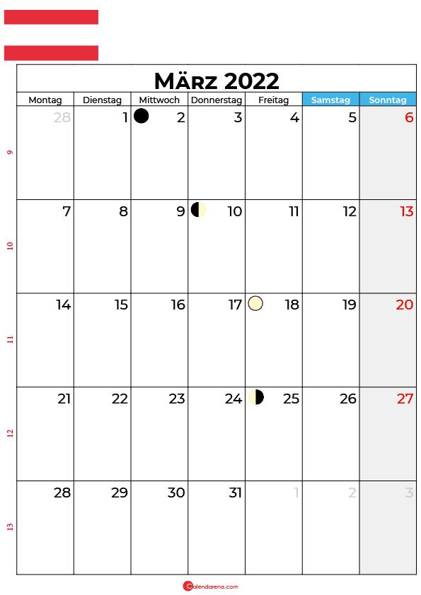 März 2022 kalender Österreich