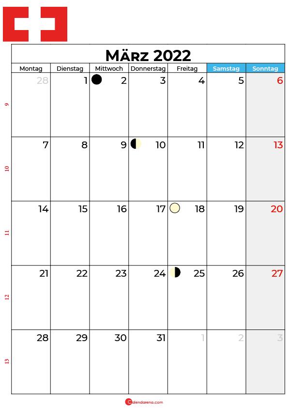 März 2022 kalender Schweiz