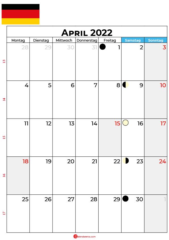 april 2022 kalender Deutschland